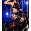 2016 New Arrival Preto Halloween fora macacão Sexy PVC Mulheres Látex Catsuit Bodysuit Macacão De Couro Mulheres Gato Traje Íntimo
