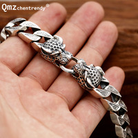 Punk 925 Sterling Silver Vintage cheetahs Bracelets Men Fine Jewelry Vintage S925 Solid Thai Silver leopards Head Cuban Bracelet