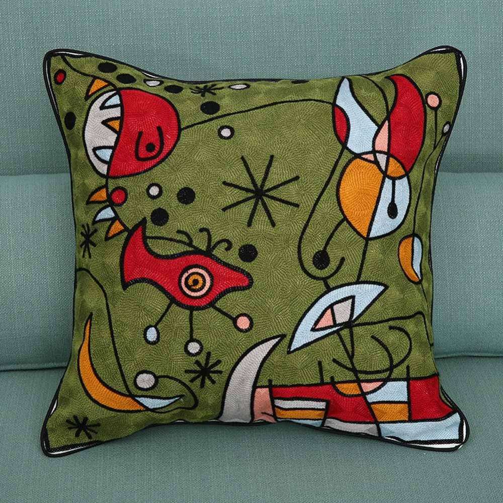 Paintings Embroidery Cushion Covers Surrealism Abstract Art Beige 100% Cotton Pillow Case Sofa Seat Decor