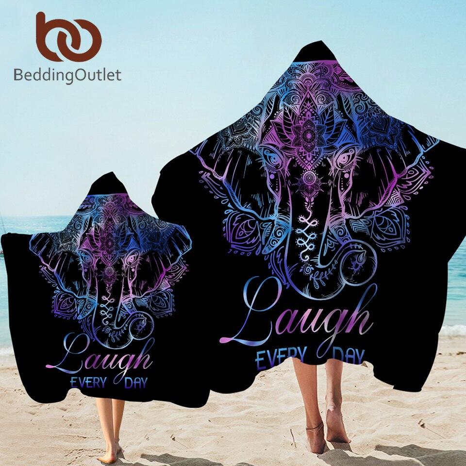 BeddingOutlet Elephant Bath Towel With Hood Flower Microfiber Hooded Towel Boho Wearable Beach Blanket Black Serviette 127x152cm