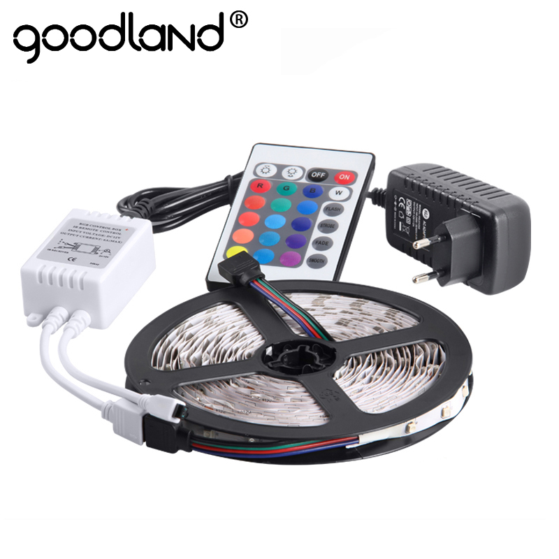Goodland RGB LED Strip Light 3528SMD Flexible Light LED Tape Lamp 5M DC12V LED Strip Power Supply 2A IR Remote Controller lson 44 5050 3528 led rgb lamp strip ir controller white