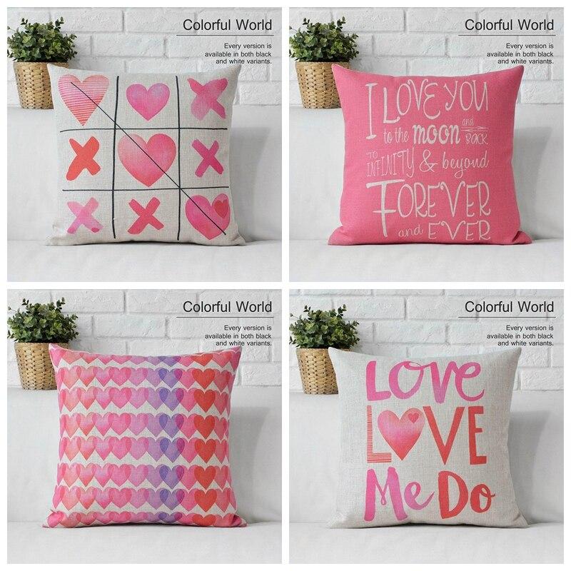 Pillow case decoration linen cotton love valentine gift for Cute cheap home decor