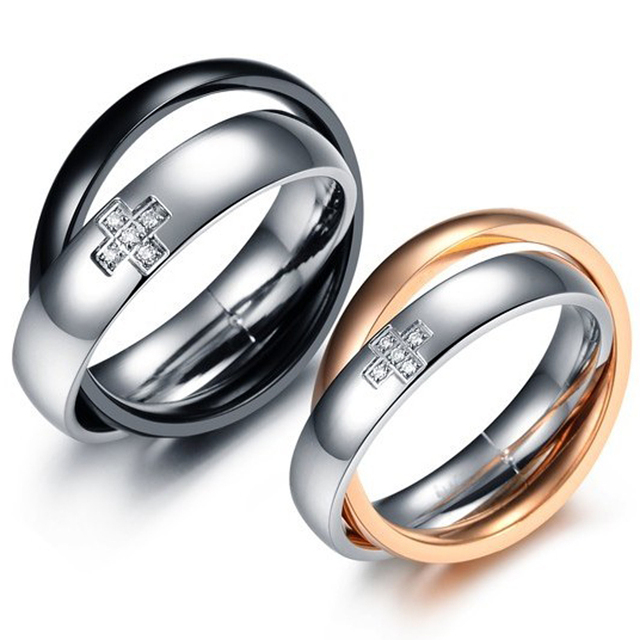 Clic Stainless Steel S Double Circles Cross Wedding Bands His Hers Matching Set Promise Ring