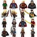 16 unids/lote Super Heroes los khan de El Señor de los Anillos Hobbit Elf Tauriel Building Blocks Figuras Juguetes para Los Niños