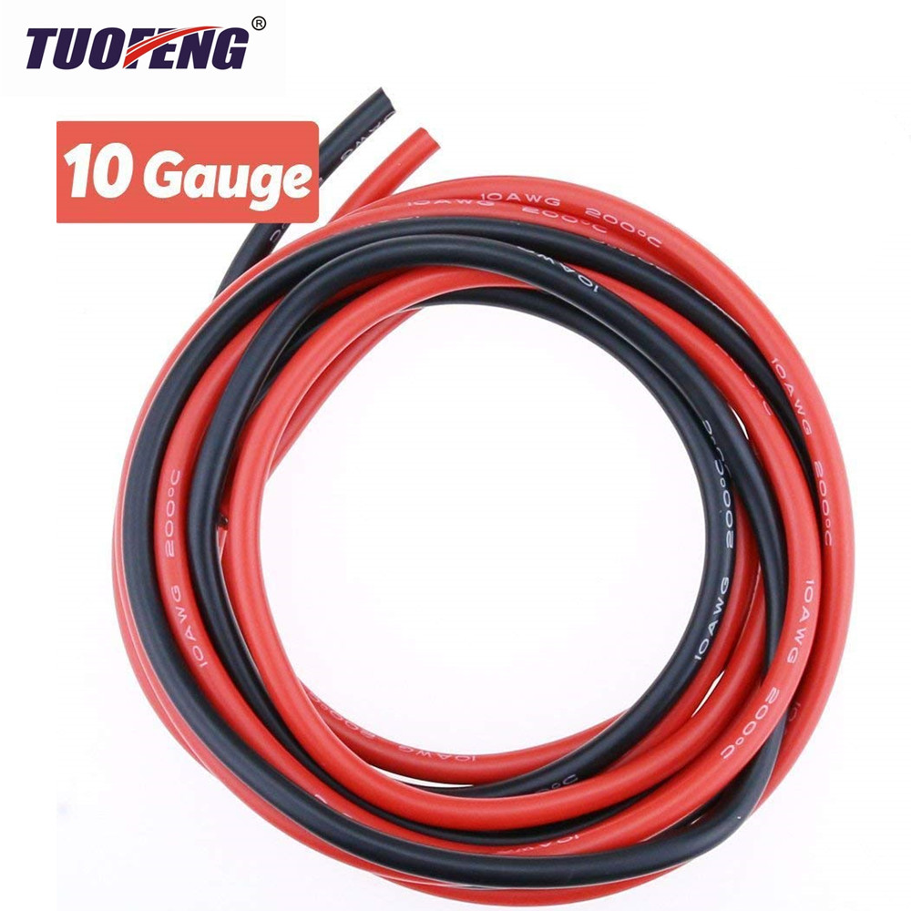 Electrical Wire 10 AWG Silicone Wire 10 Gauge Hook Up wire Cables Black And Red Soft and Flexible of Tinned copper wire velante настольная лампа velante 841 804 01