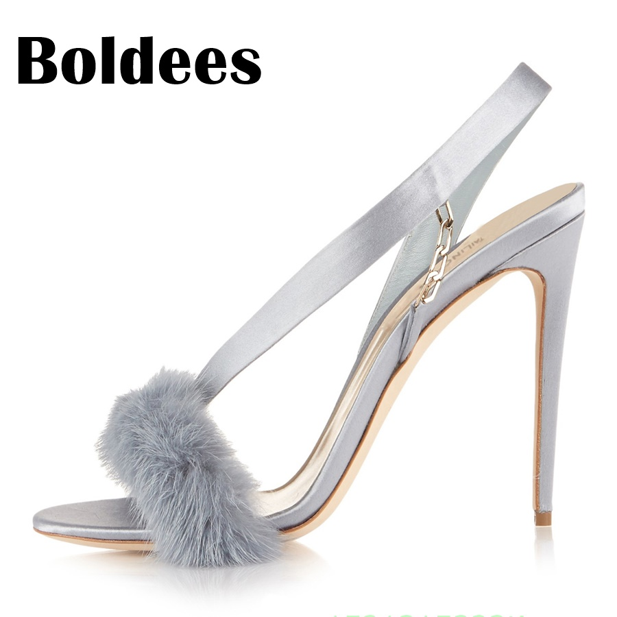 334074434e821 Boldees Hot Cute Suede Leather Soft Fur Feathers Ankle Strap Women Sandals  Gladiator High Heels Chains Heeled Women Shoes