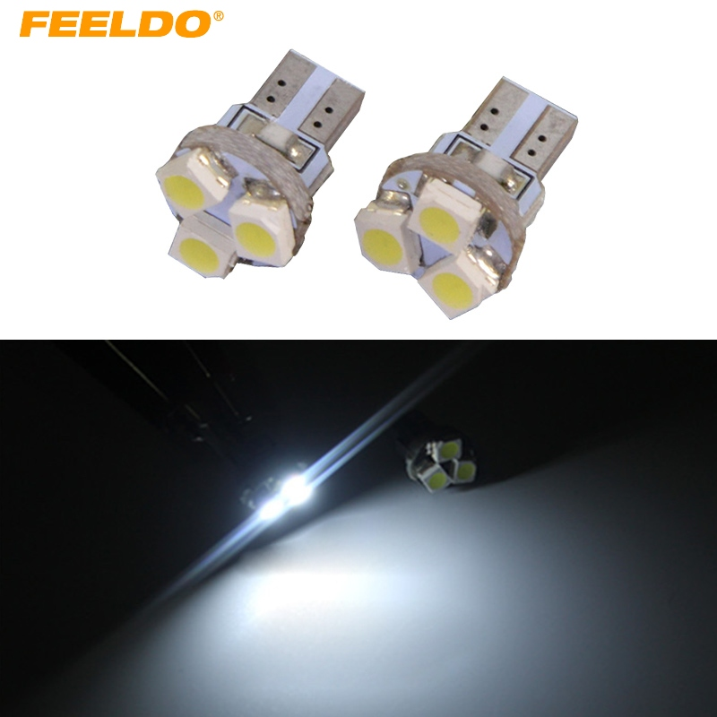 4Pcs White Car T5 0.5W 6000K 3SMD 1210/3528 CANBUS Error Free LED Light Bulb DC12V #FD-1151 t10 3w 144lm 6 x smd 5630 led error free canbus white light car lamp dc 12v 2 pcs