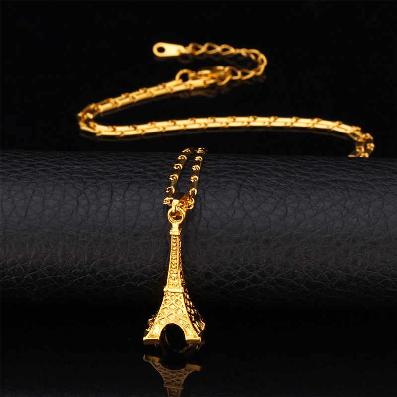 Kpop wisiorki naszyjniki dla mężczyzn/kobiety Hot nowy styl Big klasyczne wieża eiffla wisiorek wysokiej jakości złoty kolor biżuteria p006