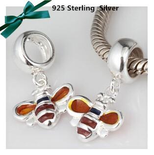 100% стерлингового серебра 925 подвеска поиск товар аксессуары пчелы талисман подходит Европа пандора браслет цепочки и ожерелья vk2253