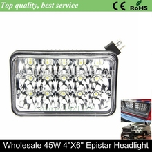 4x6 45W Epistar high low beam Spot LED headlight  4x6 led headlight led square head lamp light IP67 45W crystal clear for truck