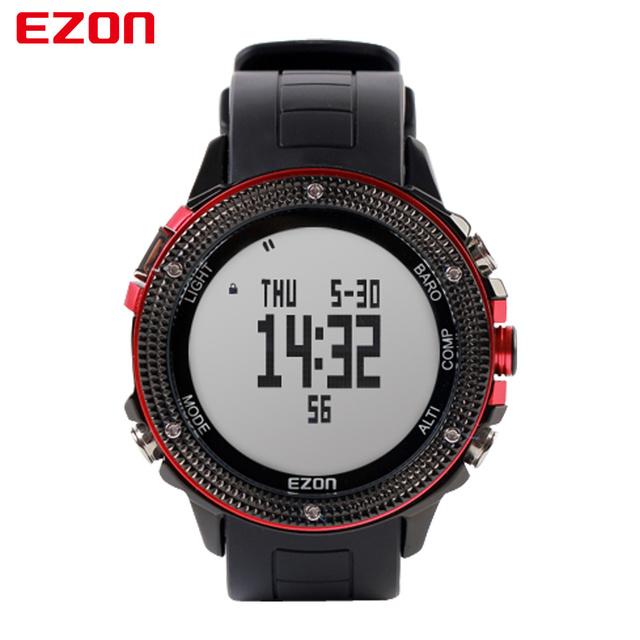 EZON Altímetro Barômetro Termômetro Bússola Previsão do tempo Dos Homens Relógios Digitais Esporte Divertido Ao Ar Livre Escalada Caminhadas relógio de Pulso