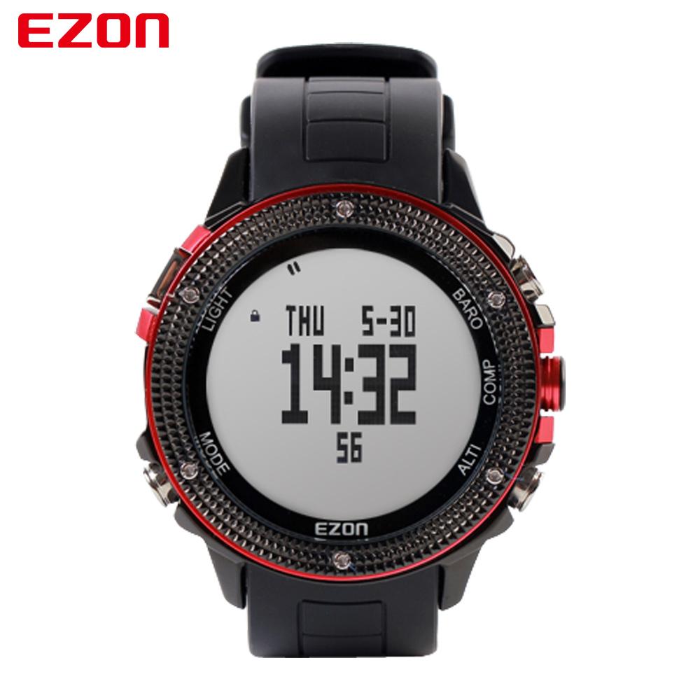EZON Altimeter Barometer Thermometer Compass Weather Forecast Men Digital Watches Sport Outdoor Fun Climbing Hiking Wristwatch ezon multifunction sports watch montre hiking mountain climbing watch men women digital watches altimeter barometer reloj h009