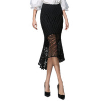 2017 Summer Sexy Mermaid Skirt Women Pencil Skirt Ladies Hollow Out Black Lace Skirts Mid Long