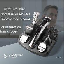 Kemei 6 в 1 триммер для бороды салонная машинка для стрижки бороды вырезать машина волосы тример стрижки волос резки электрический триммер 5