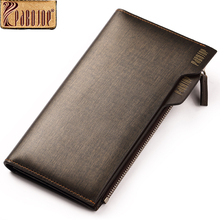 Pabojoe Mens Bidfold Wallet Genuine Leather Long Cluth Purse Credit Cards ID Card Zipper Holder Business Casual Style Handsome