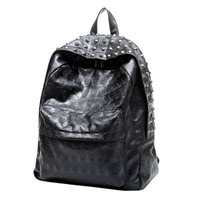 Lodogsow Fashion Korean Style Skeleton Printing Women Backpack Retro PU Leather Black Color Bags Cool Rivets