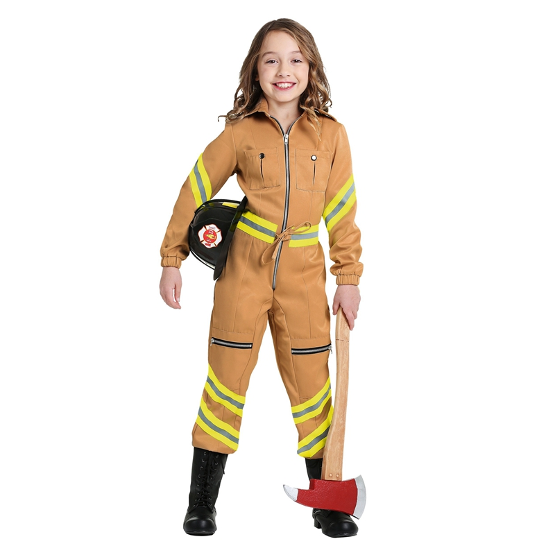 halloween girls firefighter costume children party performance fireman cosplay jumpsuit - Fireman Halloween