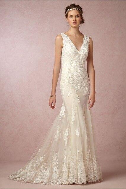 Ivory Champagne White Lace Liques V Neck Backless Zipper Wedding Dresses 2017 Spaghetti