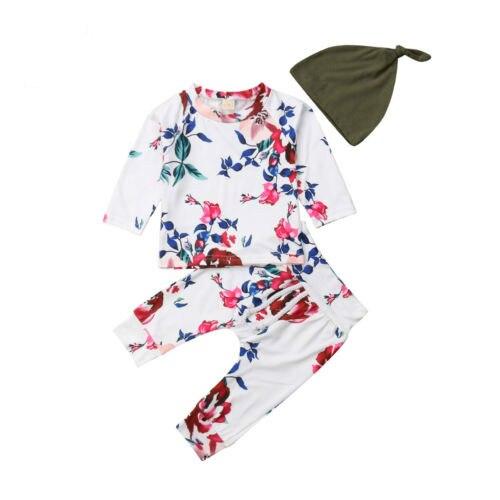 2018 Brand Baby Girls Outfits 3PCS T-shirt+Pants Hat Set Infant Autumn Clothes Tracksuit Size 0-24M
