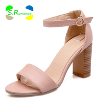Women Sandals Plus Size 34 43 Ankle Strap High Square Heel Concise Classic Buckle Strap High