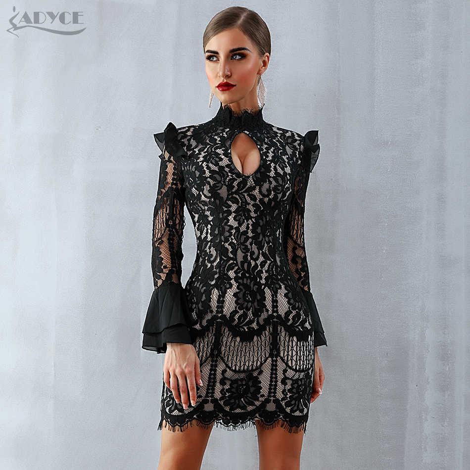 Женское вечернее кружевное платье-мини ADYCE, черное облегающее платье, с длинными рукавами, с вырезом «капелька», для клуба и вечеринки, для зима, 2019