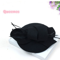 European Fashion Women Fedora 100 Wool Top Hat Fuchsia Wine Red White Elegant Mini Wool Feather