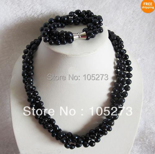 New Arriver Pearl Jewelry Set 20/8inch AA4-10MM Black Color Natural Freshwater Pearl Necklace Bracelet Wholesale Free ShippingNew Arriver Pearl Jewelry Set 20/8inch AA4-10MM Black Color Natural Freshwater Pearl Necklace Bracelet Wholesale Free Shipping