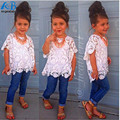 Retail 2017 Spring Girls Clothing Set T shirt + lace shirt + hole jeans 3pcs kids girl clothes suits denim childrens clothing