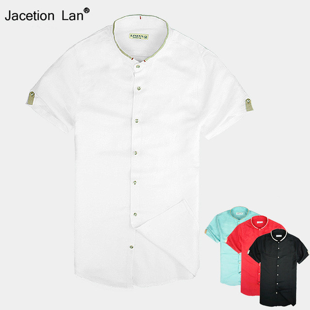 Chinese stand collar cotton short shirt men summer solid shirts male casual fashion mens shirt short sleeve overhemd mannen