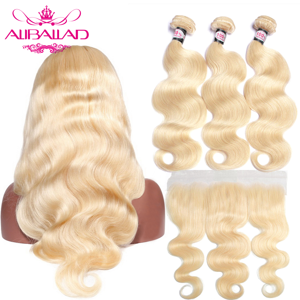 ALIBALLAD Brazilian Hair Body Wave 613 Bundles With Frontal Remy Human Hair 13x4 Ear To Ear
