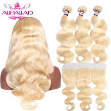 ALIBALLAD Brazilian Hair Body Wave 613 Bundles With Frontal Remy Human Hair 13×4 Ear To Ear Lace Frontal Closure With Bundles