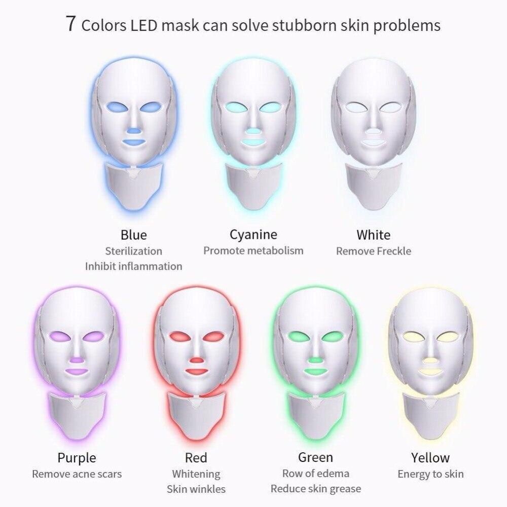Foreverlily LED máscara Facial terapia 7 colores cara máscara de fotones de terapia de luz de cuidado de la piel arruga eliminación de acné belleza de rostro. - 3