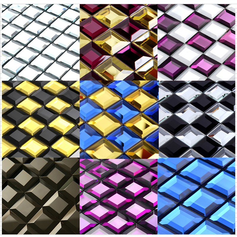 30mm Splitter Blau 5 Kanten Abgeschrägte Diamant Glänzende Spiegel Glas  Mosaik Back Fliesen Für Küche/