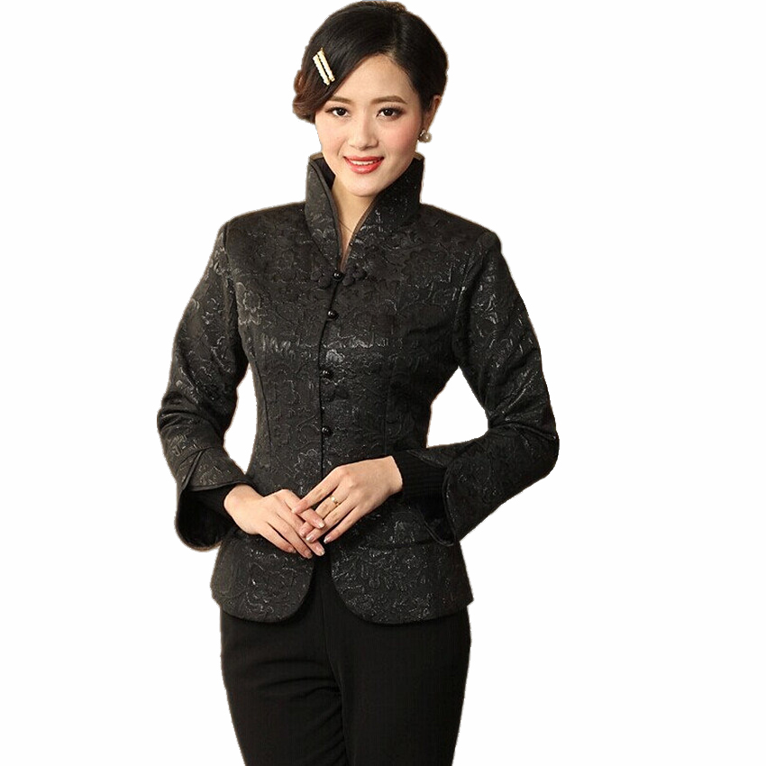New Autumn Floral Black Women Satin Coat Chinese Vintage Style Elegant Clothing Print Slim Jacket Size M - XXXL CQ011