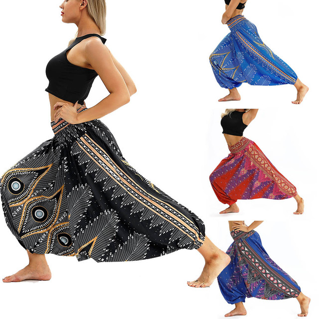 Women Men Pants Casual Woman High Waist Wide Leg Harem Trousers Baggy Boho Loose Aladdin Festival Hippy Jumpsuit Print Lady pant 4