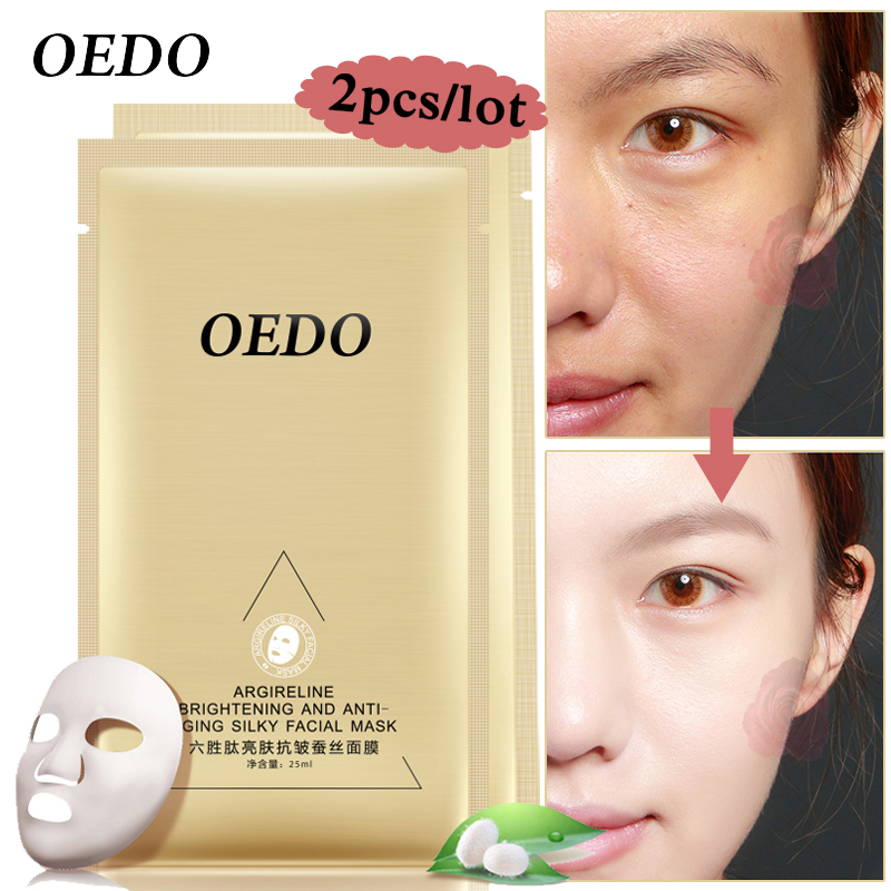 OEDO Argireline Éclaircissant et Anti-vieillissement Soyeux Masque Facial 2 pcs/lot Blanchiment Sans Âge Rétractable Pores Anti vieillissement Rides Peau soins