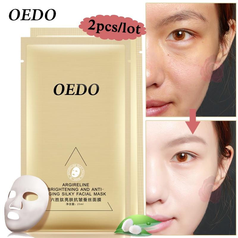 OEDO Argireline Brightening y antienvejecimiento mascarilla facial sedosa 2pcs / lot blanqueamiento Ageless Shrink Pore Anti envejecimiento Arrugas Cuidado de la piel