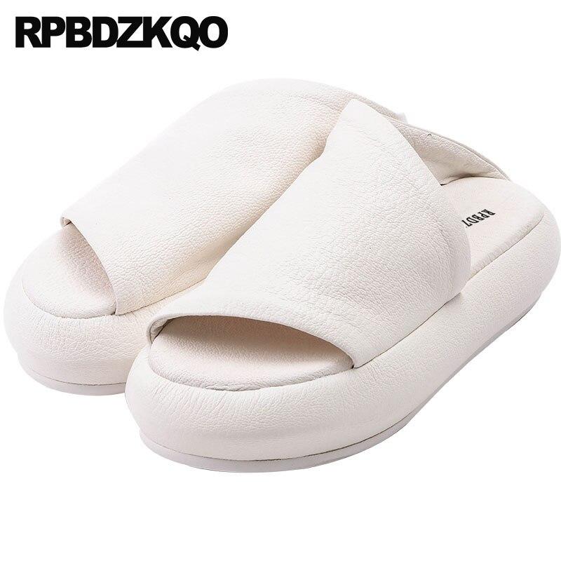 Fit Luxe 2 Dames À forme Cuir Flatforms Pantoufles D'été Sandales Femmes Talons 2018 En Large De Diapositives beige Beige Plate Chaussures Plaine Hauts 1 Designer Blanc x7HOw