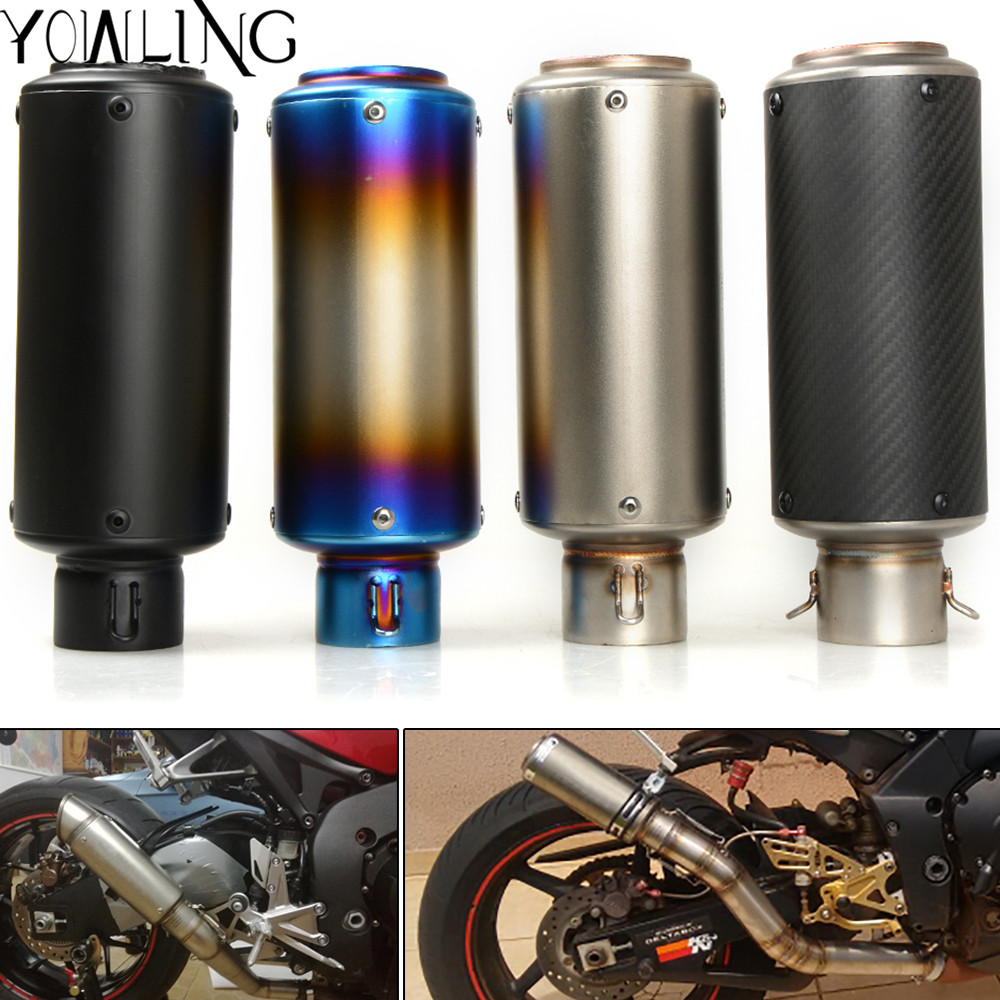 Motorcycle Exhaust Muffler Stainless Steel Fiber Motorbike Muffler Exhaust Escape for BMW S1000RR Kawasaki ER-6N R3 R6 GSX-R 600