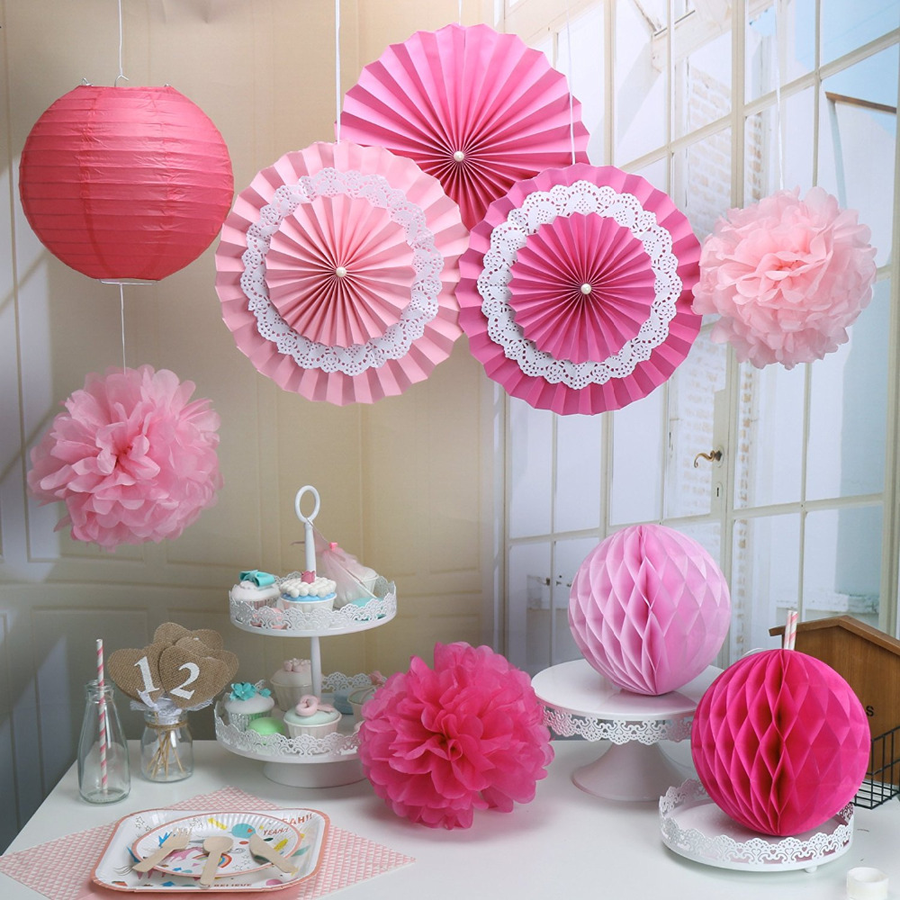 Pack of 9 Rose Pink Paper Crafts Tissue Paper Honeycomb ...