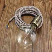 Lamp Base E27 Retro Vintage Light Bulb Lamp Holder Flexible Fabric Cable 2M 3 Core Wire Pendant Light Lamp Holder(China)