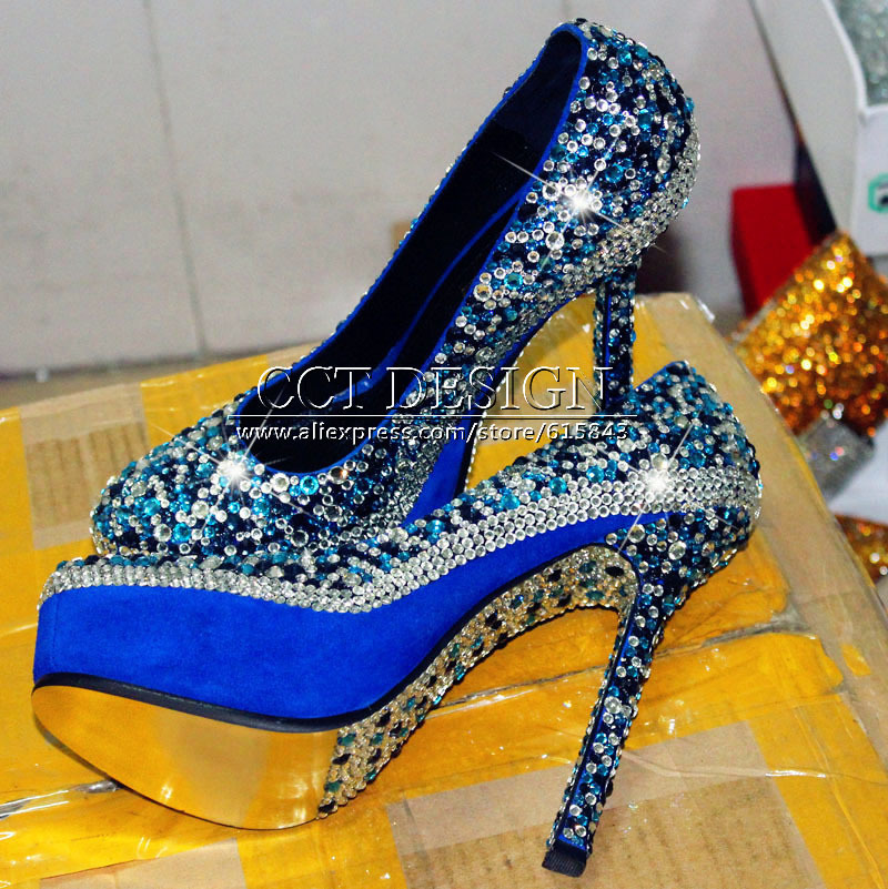 Y Women Rhinestones Royal Blue Party Shoes Platforms Crystals Wedding Bridal High Heels Color Customized Size 35 42 In S Pumps From On