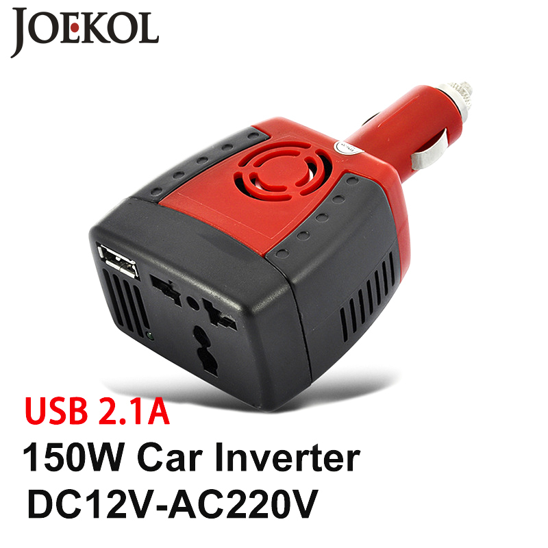 Car Inverter Power Supply 150w DC 12V to AC 220V 50Hz Converter Transformer Laptop Notebook Phone Charger Universal USB 2.1A free shipping 200w dc 12v to ac 220v 2 usb 1000ma car power inverter converter transformer power supply