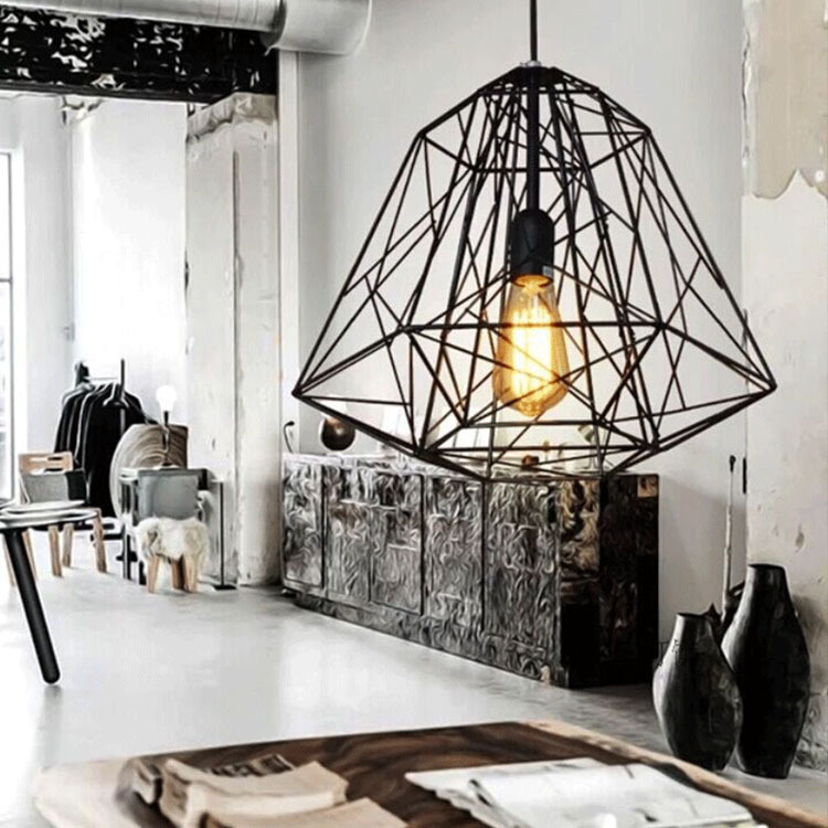 Nordic Diamond Vintage Loft Pendant Lamp Iron Cage Industrial Pendant Light Bar Warehouse Dining Hall Fixture Lighting lamps new loft vintage iron pendant light industrial lighting glass guard design bar cafe restaurant cage pendant lamp hanging lights