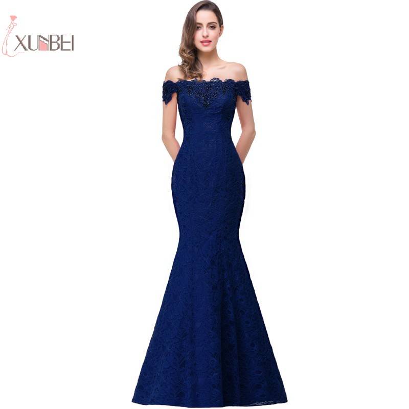 Elegant 2019 Mermaid Lace Long   Prom     Dresses   Off The Shoulder Beading Gown vestidos de gala