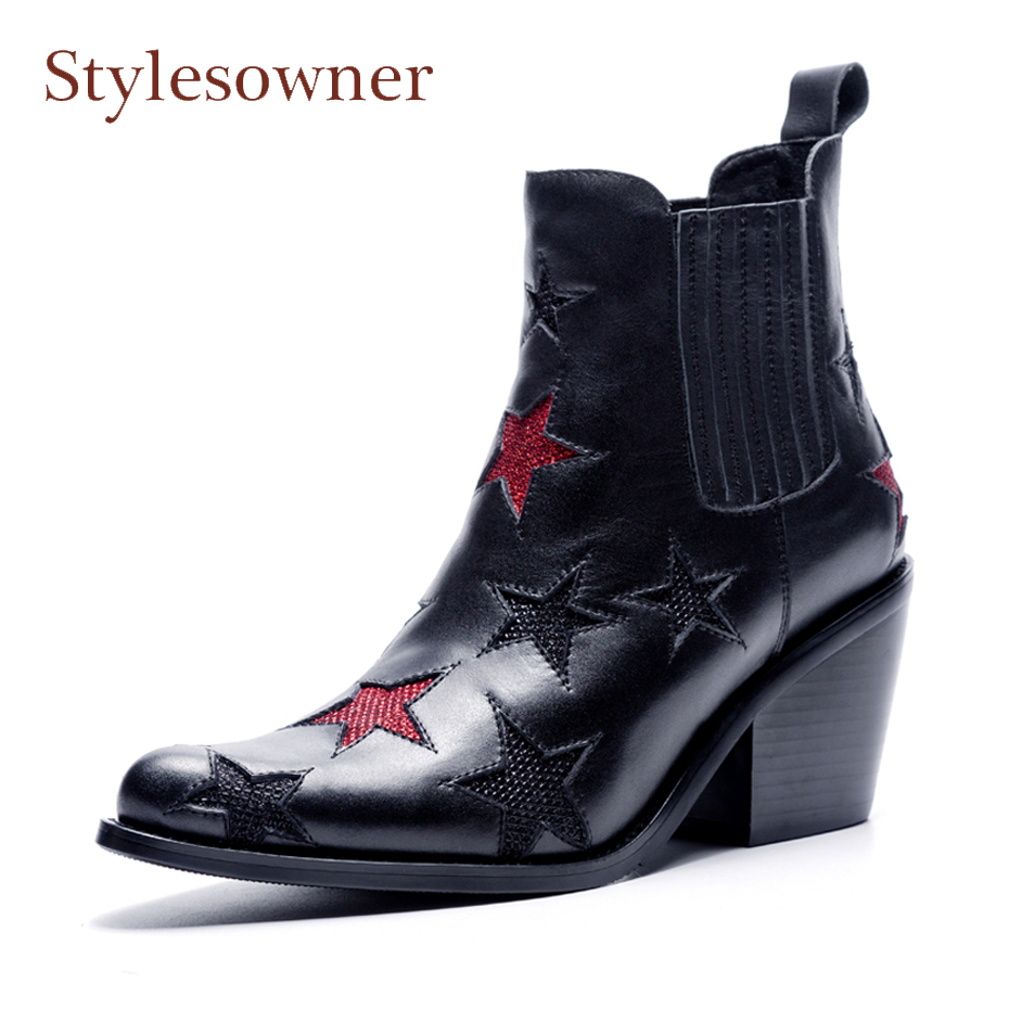 Stylesowner red star patchwork ankle boots women slip on chunky high heel genuine leather chelsea boots lady martin boots new ботинки martin star