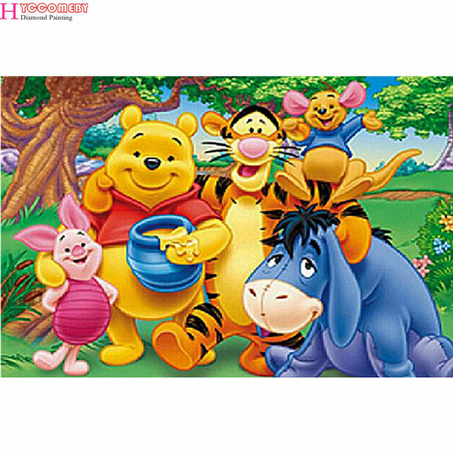 Cartoon Winnie the Pooh and Tigger 5D DIY Diamond Painting Bear Diamond Embroidery Cross Stitch Needlework Home Decorative