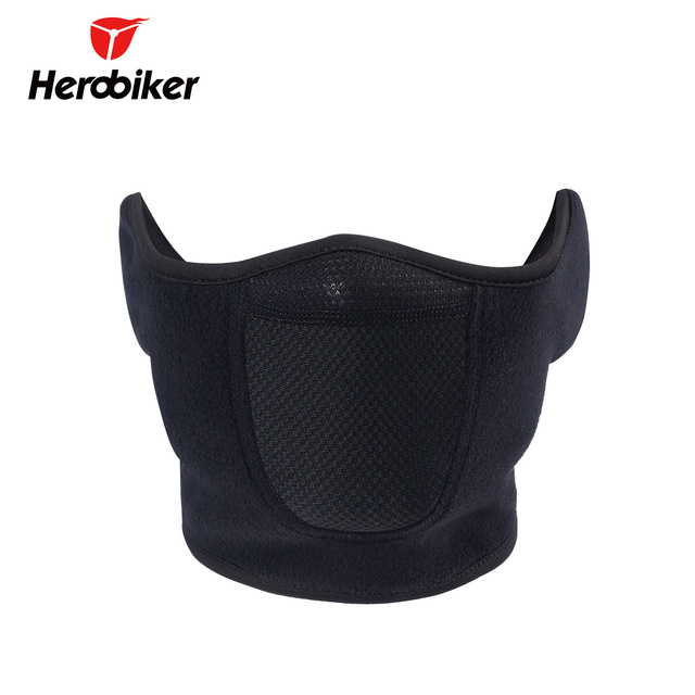 HEROBIKER Black Motorcycle Face Mask Moto Autumn Winter Skiing Snowboard Mask Cold-proof Thermal Fleece Cycling Half Face Mask