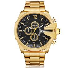 Cagarny Golden Stainless Steel Quartz Watch Men Waterproof Military Mens Wrist Watches Top Luxury Brand Casual Man Watches Clock