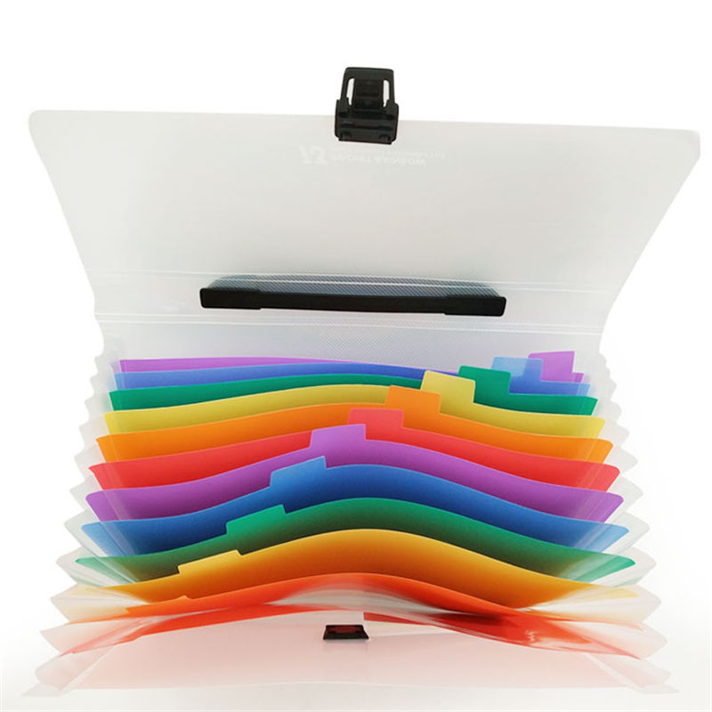 Coloffice High Quality Rainbow System 13 Girds Plastic Expanding Wallet Accordion Folders Students Paper Document Storage 1Piece